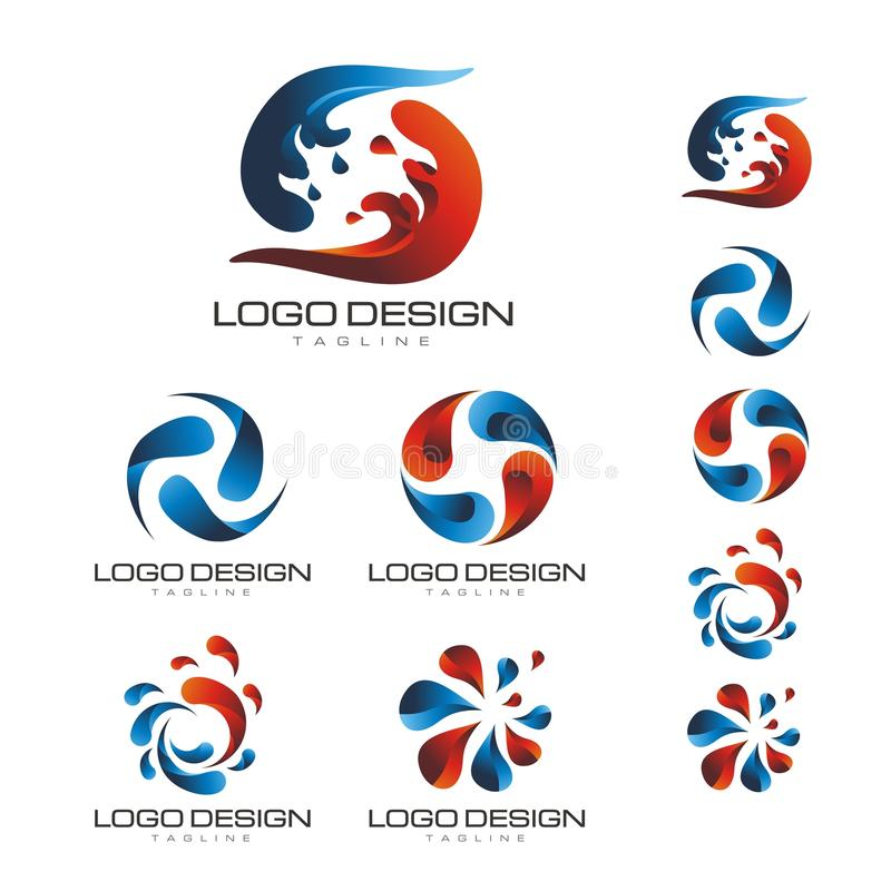 BLUE AND RED SPLASH WATER LOGO VECTOR royalty free stock image