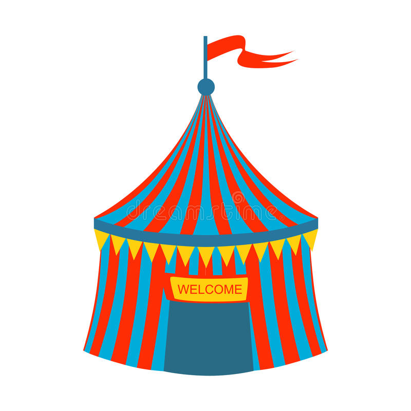 Blue And Red Stripy Circus Tent, Part Of Amusement Park And Fair Series Of Flat Cartoon Illustrations stock illustration