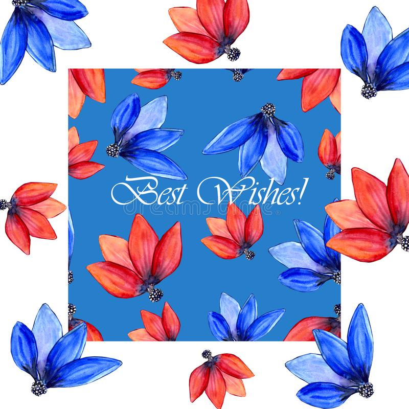 Blue and red tulip petals greeting card royalty free stock image