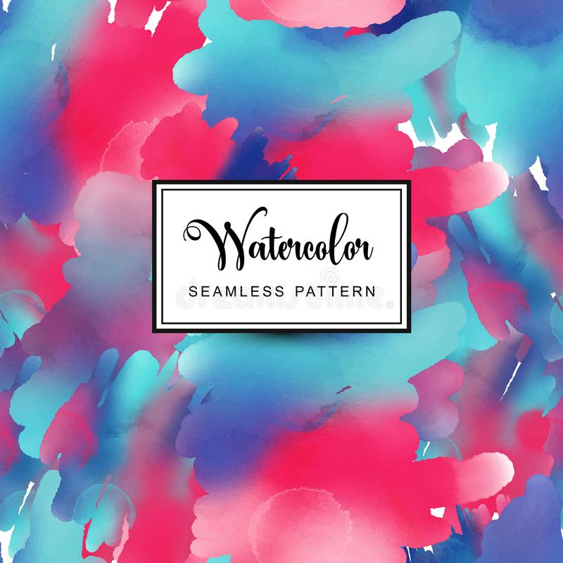Blue and red watercolor background, vector seamless pattern tile royalty free illustration