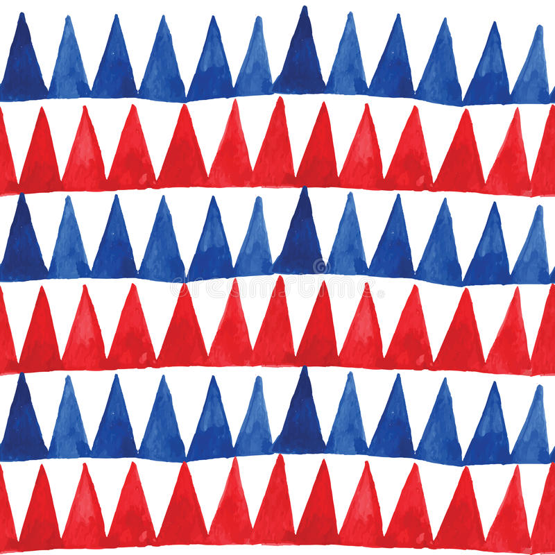 Blue and red watercolor triangles pattern in vector. vector illustration