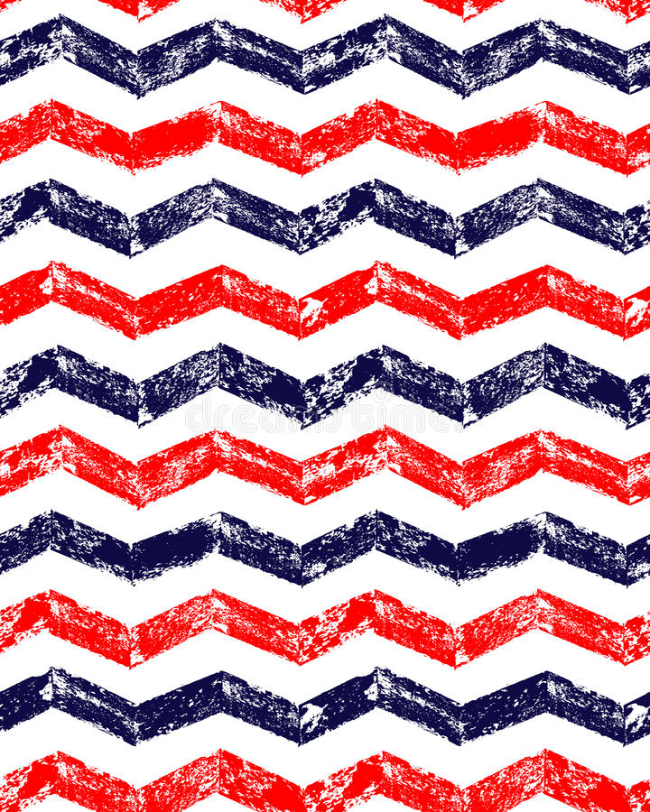 Blue red and white grunge chevron geometric seamless pattern, vector. Background stock illustration