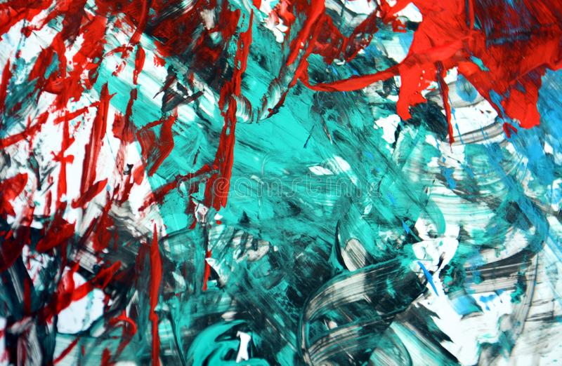 Blue red white phosphorescent background, watercolor acrylic painting abstract background royalty free stock photo