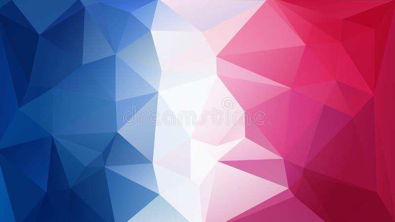 Blue-red-white triangular background. Vector art illustration royalty free illustration