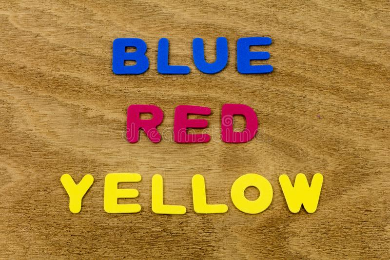 Blue red yellow colors abc alphabet background foam toy royalty free stock photo
