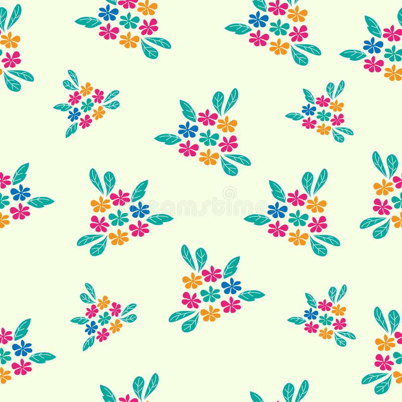 Blue, red and yellow flower seamless pattern vector illustration