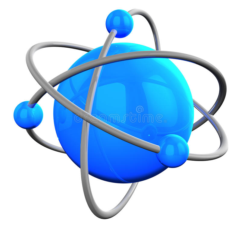 Blue reflective atom structure on white royalty free illustration