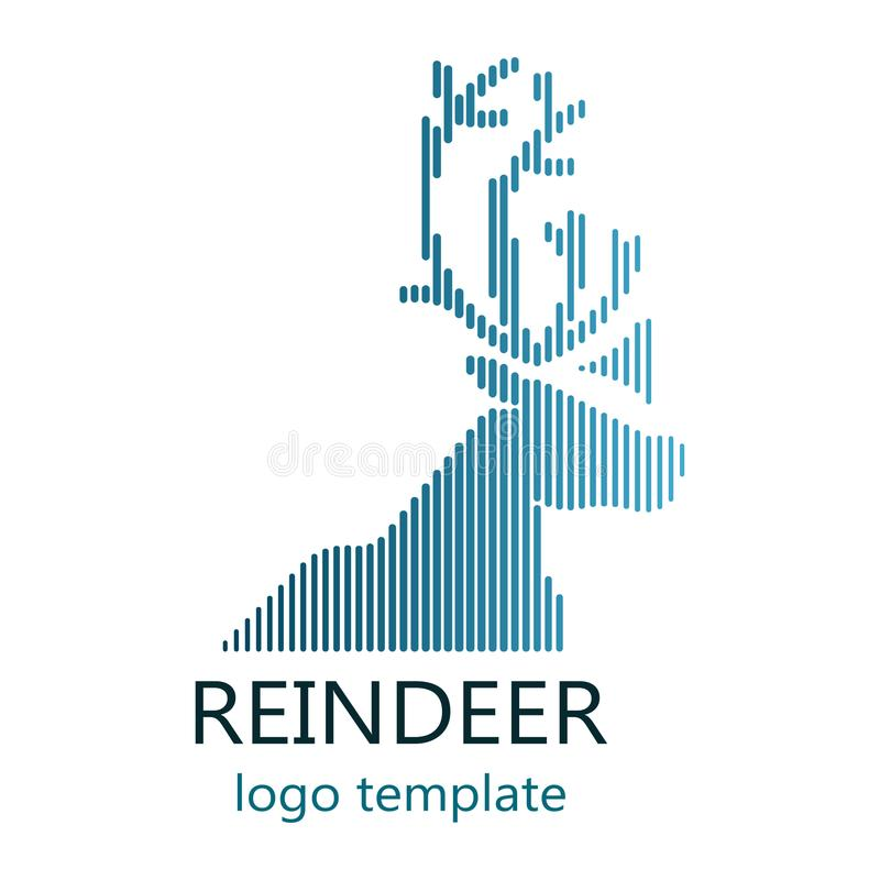 Blue reindeer logo with stripes isolated on white background stock photos