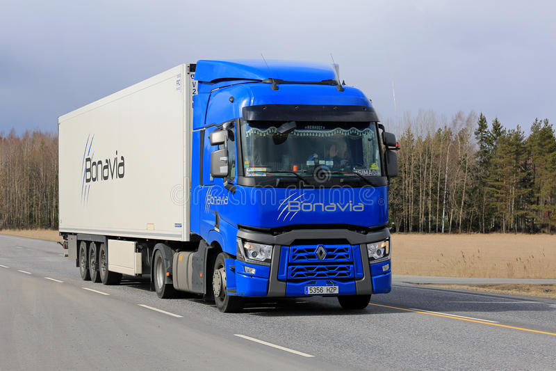 Blue Renault Trucks T Transport royalty free stock photo