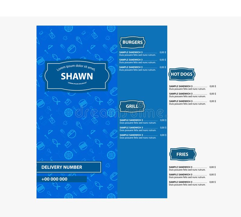 Blue Restaurant menu, template design. Food flyer flat design. With vintage sign and blue food pattern stock illustration