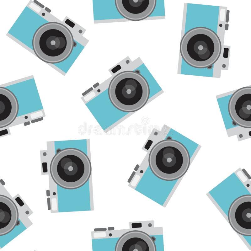 Blue retro camera pattern seamless vintage photo hipster vector royalty free stock photos