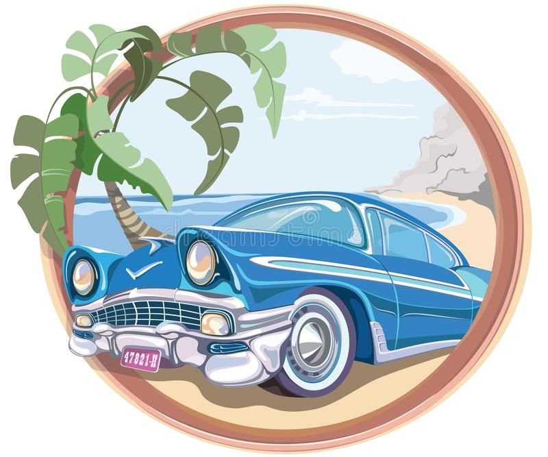 Blue retro car 50s in vector royalty free stock image