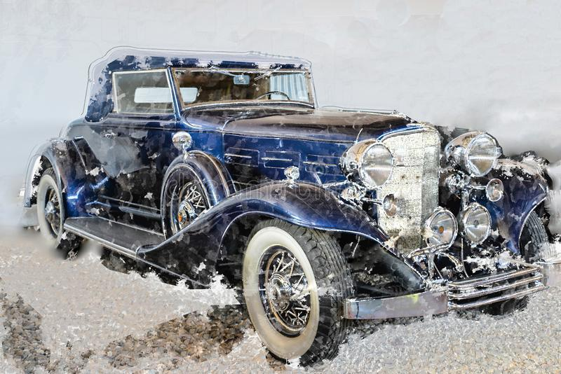 Blue retro car stylish painting. Collage with gentle background, watercolor drops effect. Auto early 20th century manufacturing. Vintage elegant car for poster royalty free illustration