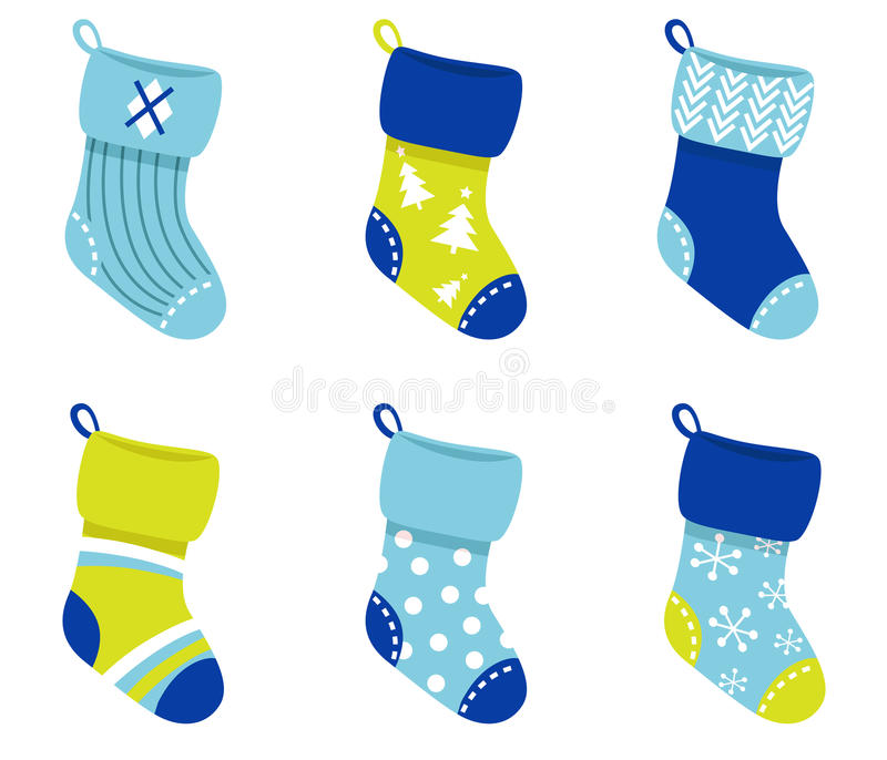 Download Blue Retro Christmas Socks Collection. Stock Vector - Image: 21665690