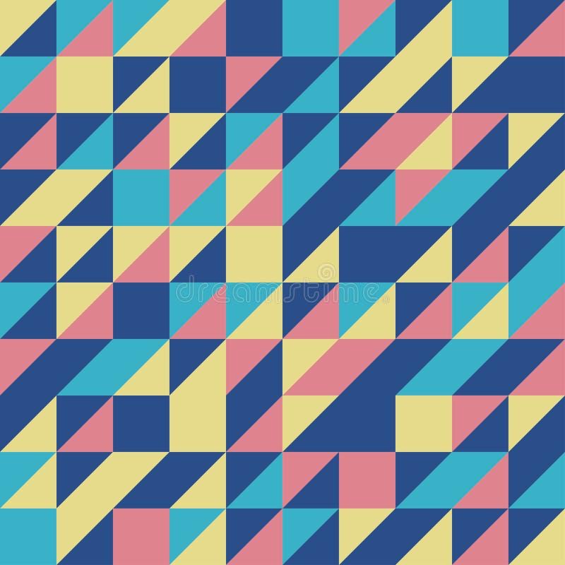 Blue Retro Half Square Triangle Seamless background stock images