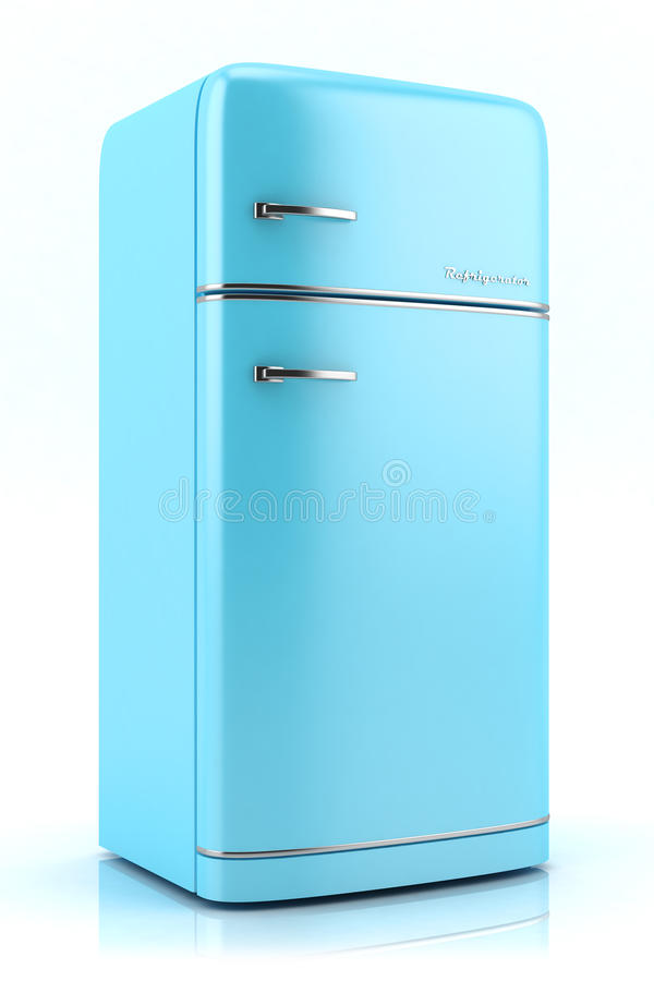 blue retro refrigerator 3d stock illustration image 40877785. Black Bedroom Furniture Sets. Home Design Ideas