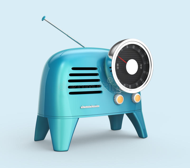 Blue retro style radio on light blue background. 3D rendering image with clipping path royalty free illustration