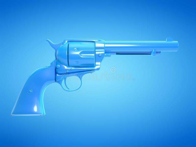 A blue revolver. 3d rendered illustration of a blue revolver stock illustration