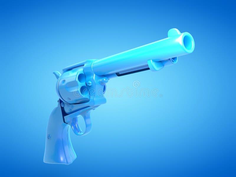 A blue revolver. 3d rendered illustration of a blue revolver vector illustration