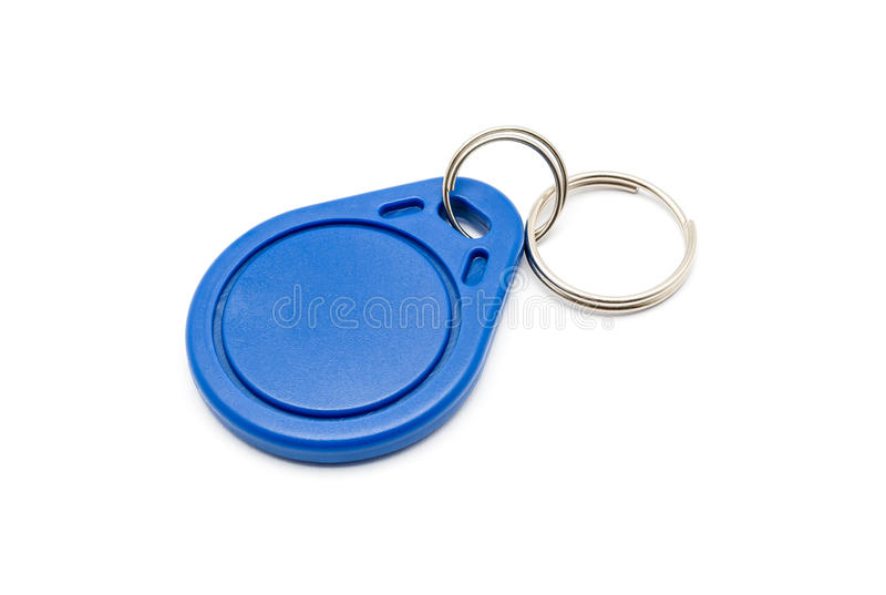 Blue RFID Keychain Tag. Isolated royalty free stock photos