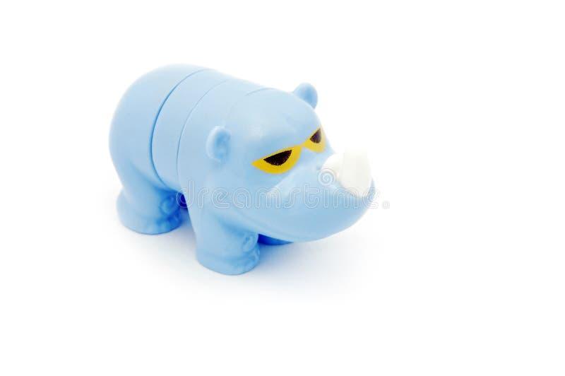 Blue rhino toy. Isolated on white stock photo