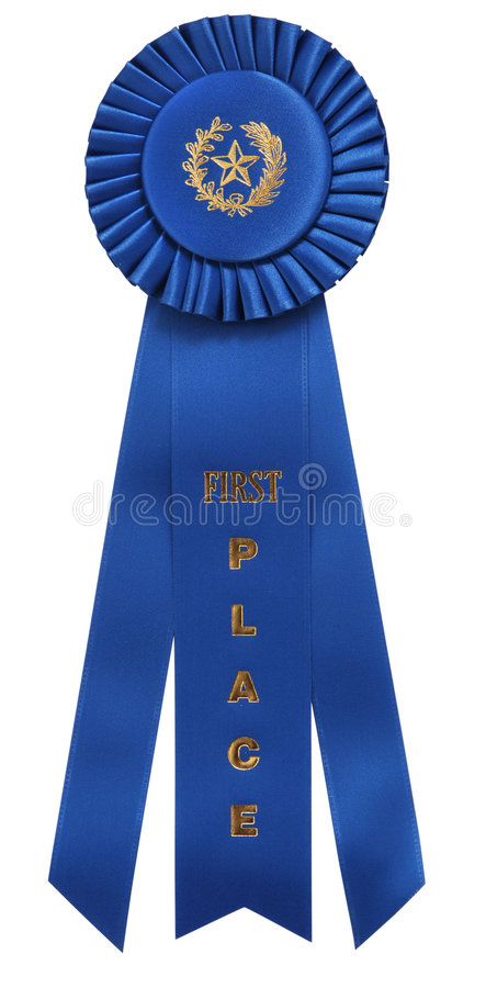 Blue ribbon. Classic blue ribbon with First Place embossed on center ribbon. Isolated on white with clipping path royalty free stock photos