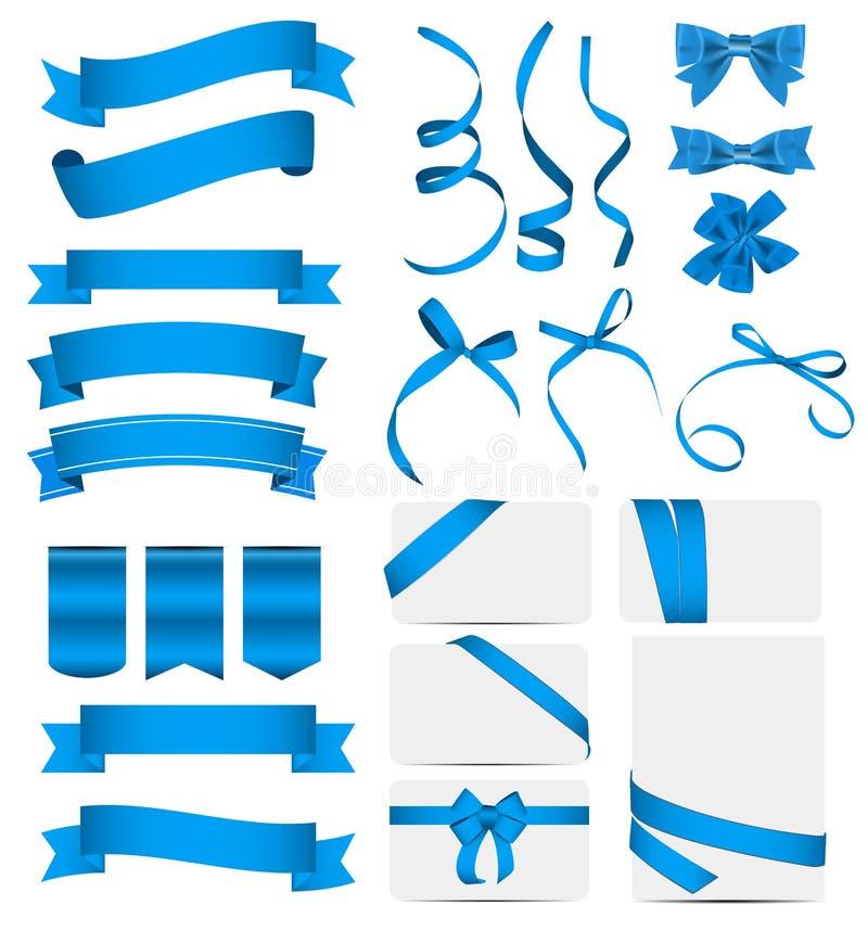 Free Blue Ribbon And Bow Set. Vector Illustration Royalty Free Stock Photos - 66525818