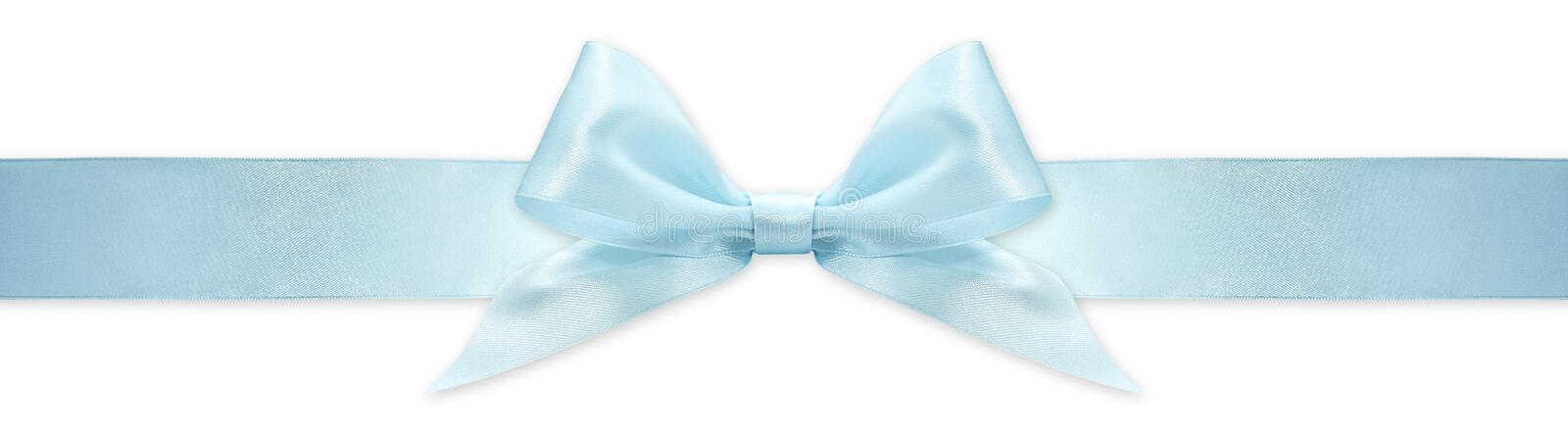 Blue  ribbon bow isolated on white background, for event or gift package royalty free stock photo