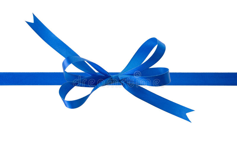 Blue ribbon with a bow on a white background. Copy space stock photo