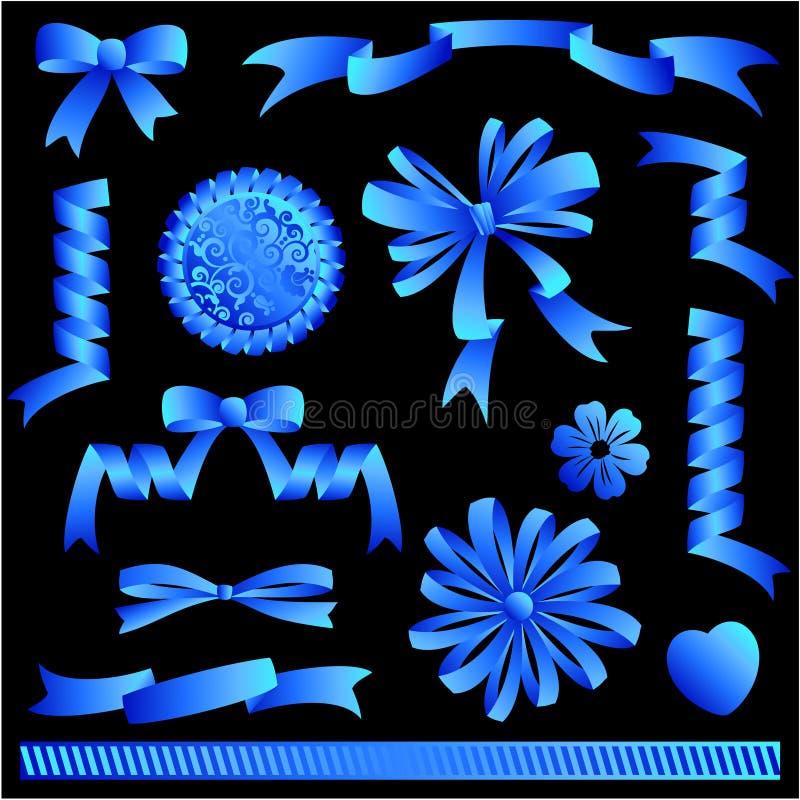 Blue ribbon bows, banners, embellishments royalty free illustration