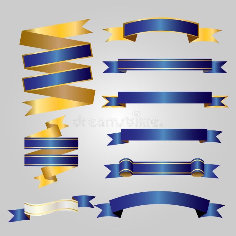 Blue Ribbon con oro en el fondo blanco ilustración del vector