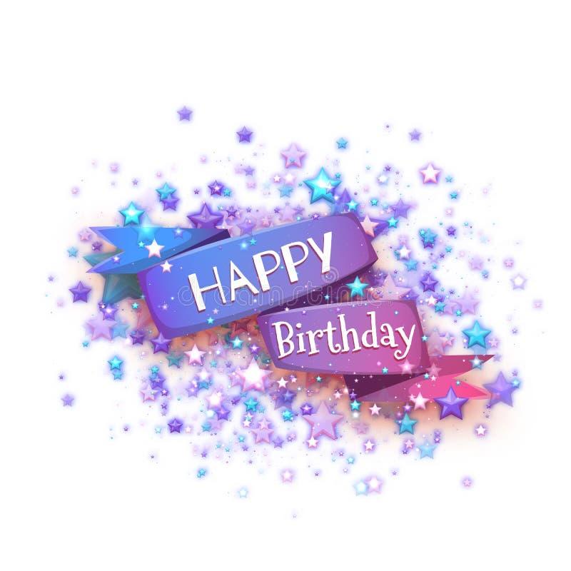Blue Ribbon con título del feliz cumpleaños Ilustración del vector ilustración del vector