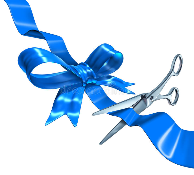 Blue Ribbon Cutting. Business concept with a three dimensional silk bow being cut by metal scissors as a symbol of launching and unveiling an important royalty free illustration