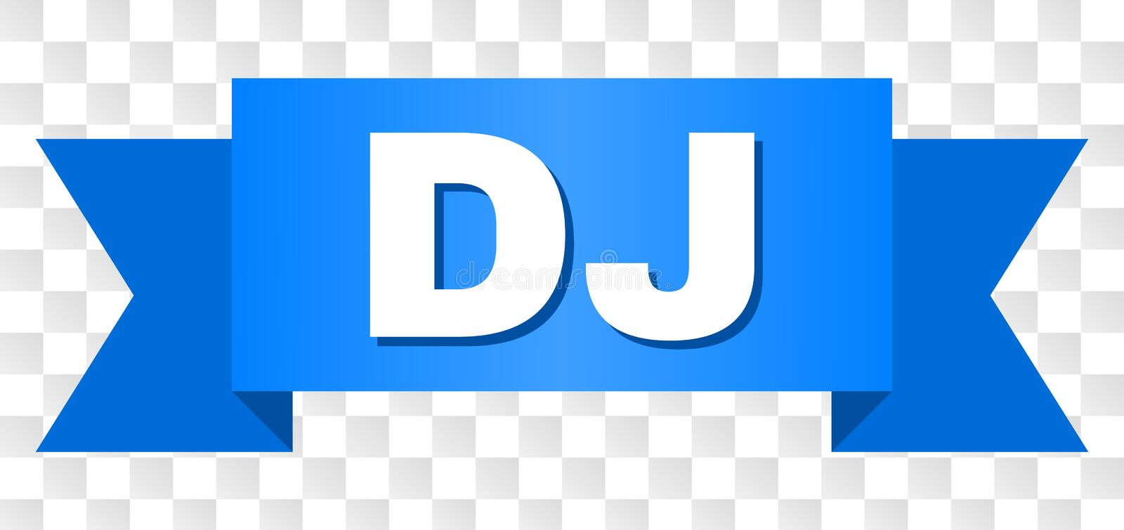 Blue Ribbon with DJ Title. DJ text on a ribbon. Designed with white caption and blue stripe. Vector banner with DJ tag on a transparent background royalty free illustration