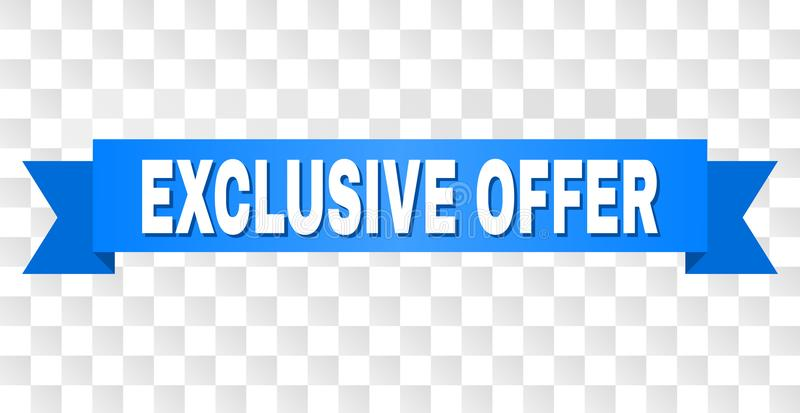 Blue Ribbon with EXCLUSIVE OFFER Caption. EXCLUSIVE OFFER text on a ribbon. Designed with white caption and blue stripe. Vector banner with EXCLUSIVE OFFER tag stock illustration
