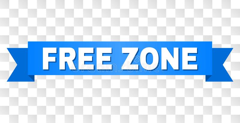 Blue Ribbon with FREE ZONE Caption. FREE ZONE text on a ribbon. Designed with white caption and blue stripe. Vector banner with FREE ZONE tag on a transparent vector illustration