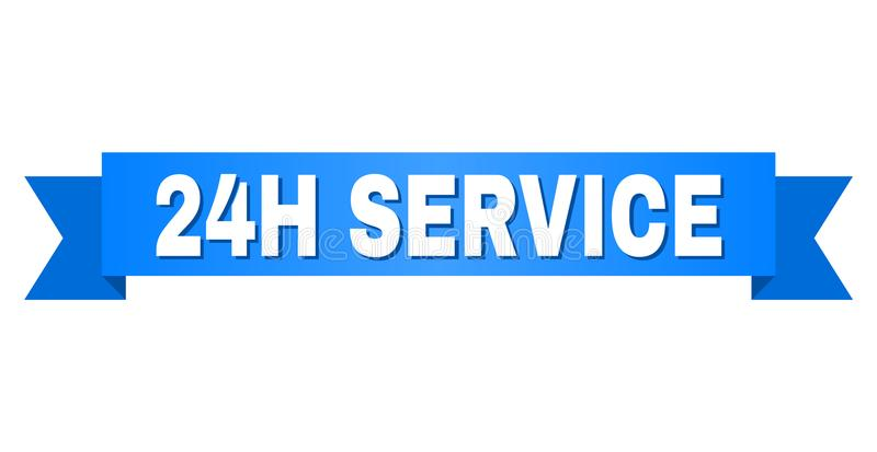 Blue Ribbon with 24H SERVICE Title. 24H SERVICE text on a ribbon. Designed with white caption and blue stripe. Vector banner with 24H SERVICE tag stock illustration