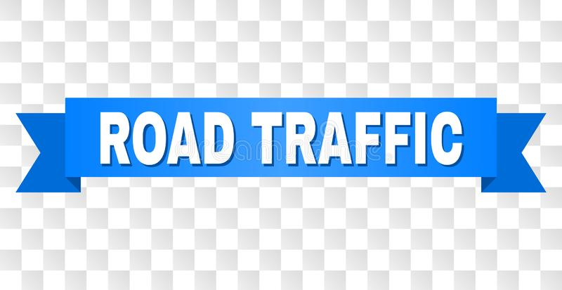 Blue Ribbon with ROAD TRAFFIC Caption. ROAD TRAFFIC text on a ribbon. Designed with white caption and blue tape. Vector banner with ROAD TRAFFIC tag on a stock illustration