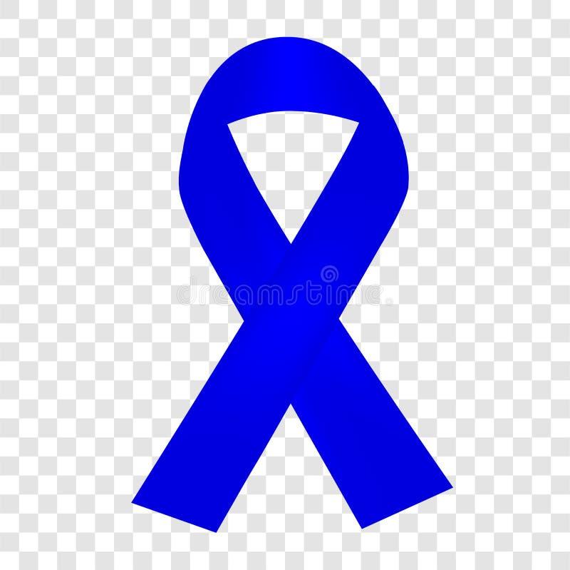 Blue Ribbon Shinning simple, en el fondo transparente del efecto ilustración del vector
