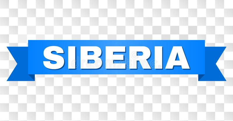 Blue Ribbon with SIBERIA Text. SIBERIA text on a ribbon. Designed with white caption and blue stripe. Vector banner with SIBERIA tag on a transparent background vector illustration
