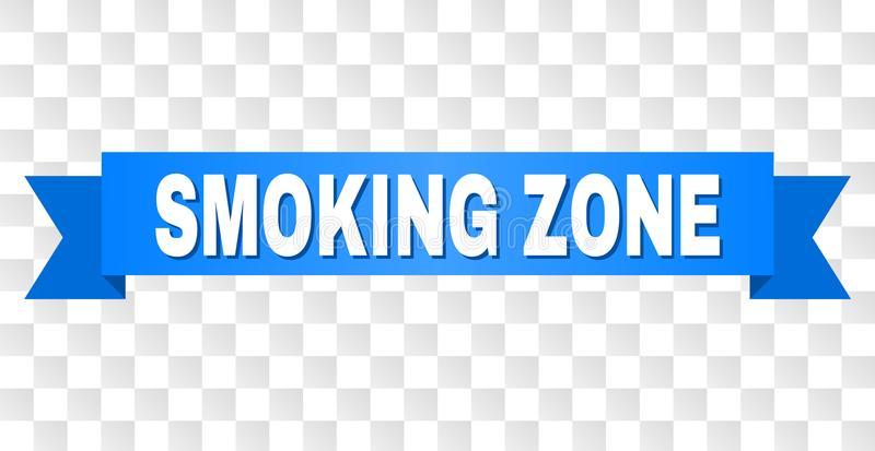 Blue Ribbon with SMOKING ZONE Caption. SMOKING ZONE text on a ribbon. Designed with white caption and blue tape. Vector banner with SMOKING ZONE tag on a stock illustration