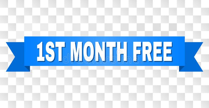 Blue Ribbon with 1ST MONTH FREE Caption. 1ST MONTH FREE text on a ribbon. Designed with white caption and blue stripe. Vector banner with 1ST MONTH FREE tag on a vector illustration