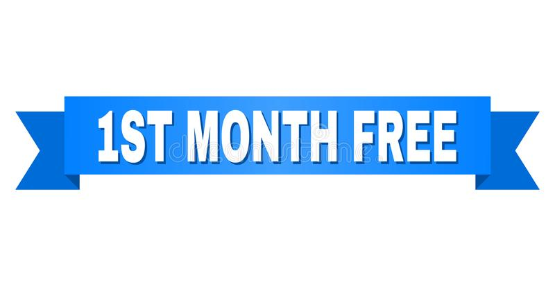 Blue Ribbon with 1ST MONTH FREE Caption. 1ST MONTH FREE text on a ribbon. Designed with white caption and blue tape. Vector banner with 1ST MONTH FREE tag royalty free illustration
