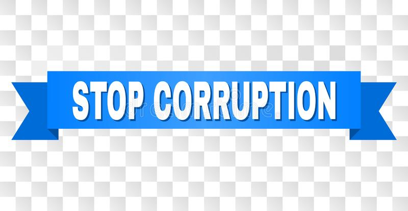 Blue Ribbon with STOP CORRUPTION Caption. STOP CORRUPTION text on a ribbon. Designed with white caption and blue tape. Vector banner with STOP CORRUPTION tag on vector illustration