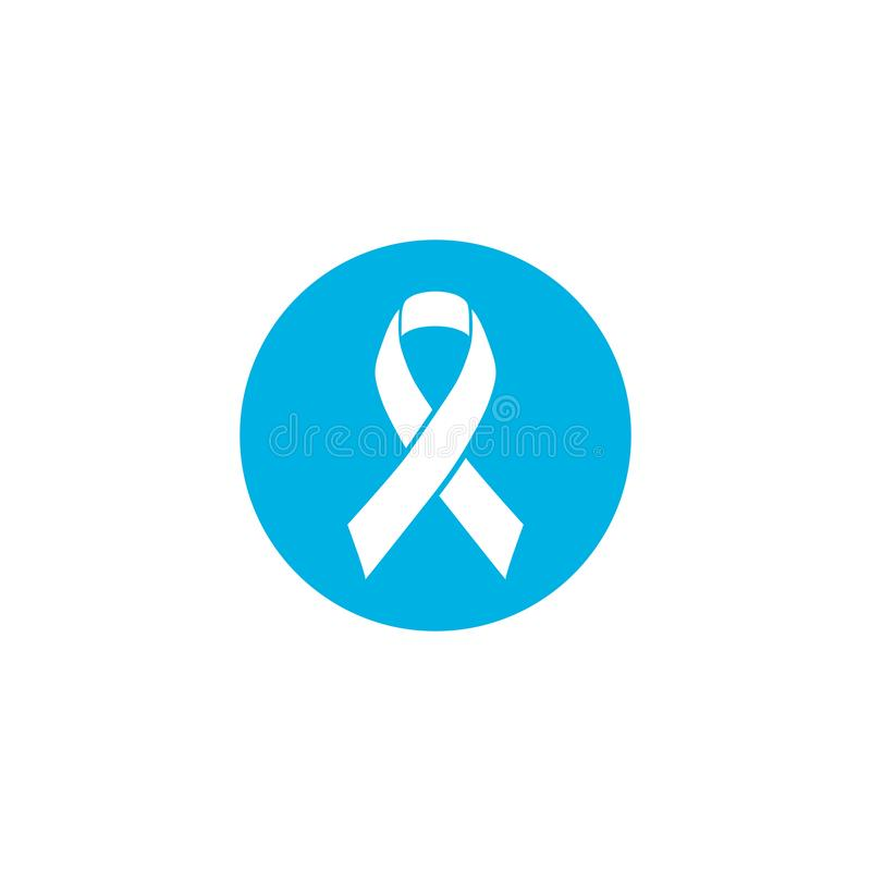 Blue ribbon the symbol of the world prostate cancer awareness day in november, vector isolated on white background vector illustration