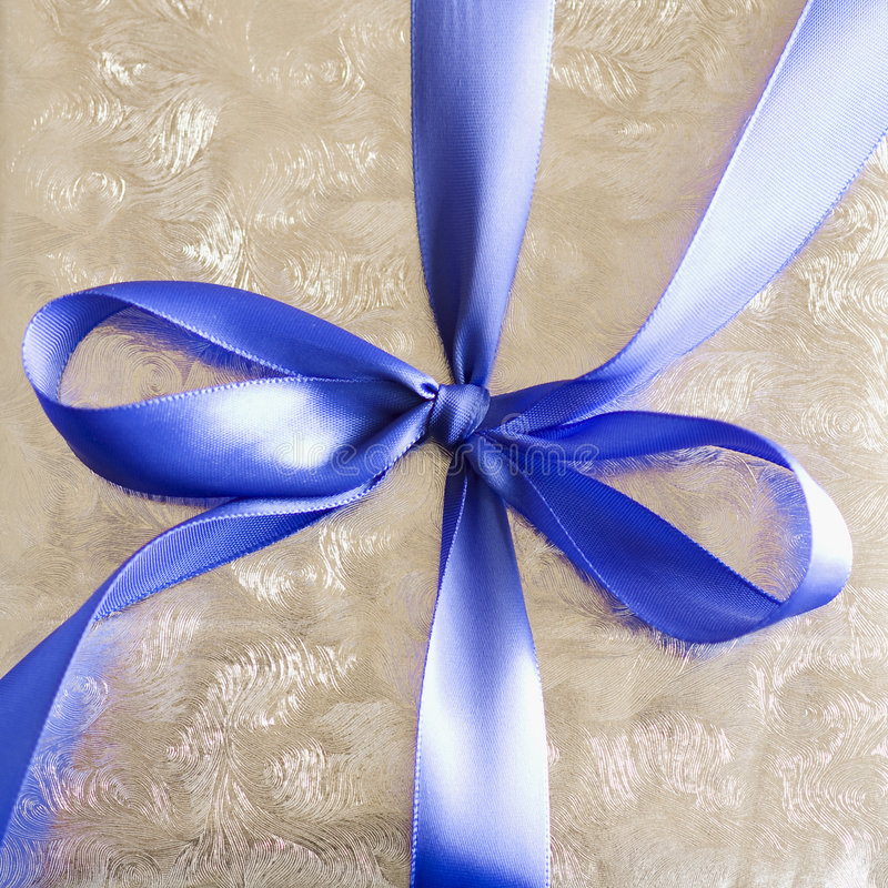 Download Blue Ribbon Tied In A Bow On Silver Gift. Stock Image - Image: 7183463
