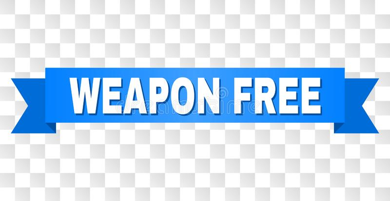 Blue Ribbon with WEAPON FREE Caption. WEAPON FREE text on a ribbon. Designed with white caption and blue stripe. Vector banner with WEAPON FREE tag on a stock illustration