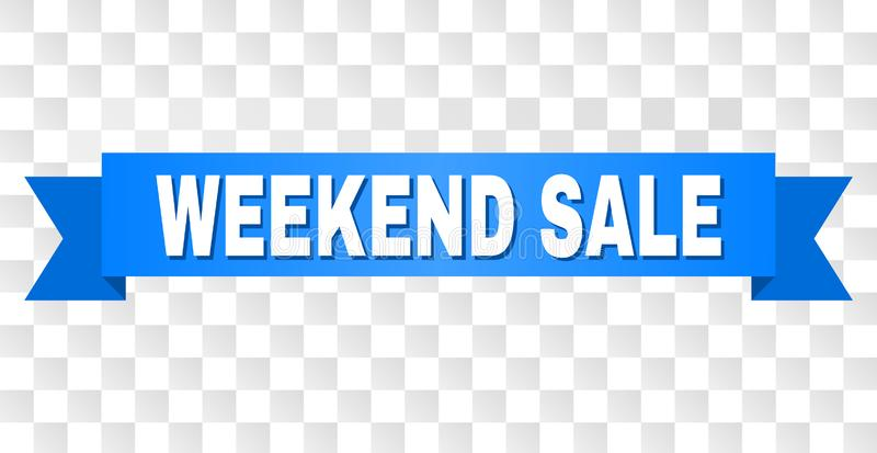 Blue Ribbon with WEEKEND SALE Caption. WEEKEND SALE text on a ribbon. Designed with white caption and blue stripe. Vector banner with WEEKEND SALE tag on a stock illustration