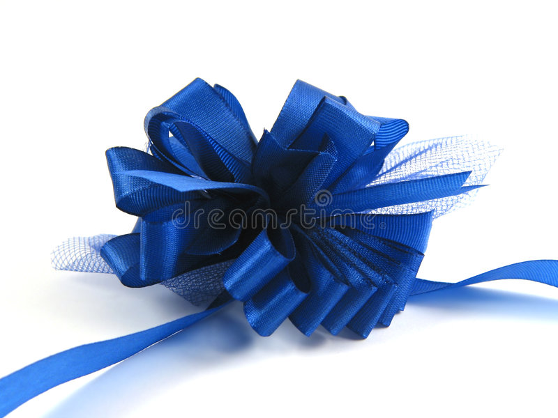 Blue ribbon on white background royalty free stock photography