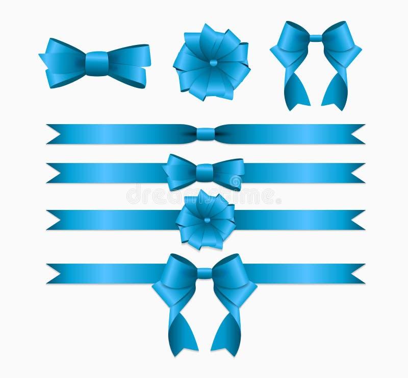 Blue Ribbon y arco fijados para la caja de regalo de la Navidad del cumpleaños rea ilustración del vector